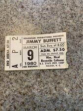 Jimmy Buffett 1980 Concert Ticket Stub Raleigh Nc