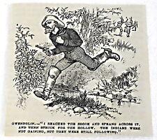1882 small magazine engraving ~ GWENDOLIN ~ man with gun sprints across stream