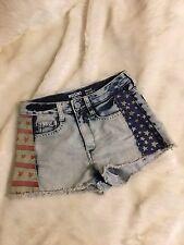 Mossimo American Flag Cutoff High Waist Denim Shorts SIZE 5 JUNIORS