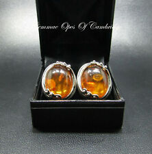 Large Stirling Silver 925 Baltic Amber Earrings 13.14g Art Nouveau Clip on