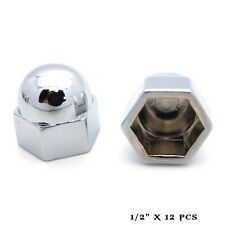"12 Chrome 1/2"" Metal Acorn Nut Caps & Bolt Covers - Custom Car Truck Motorcycle"