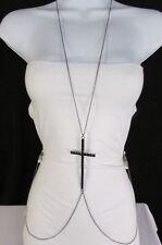 New Women Black Metal Body Chain Big Cross Rhinestones Necklace Fashion Jewelry