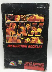 WWF Raw Wrestling WF SNES Super Nintendo Instruction Manual Only