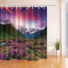 Wildflowers on snowy mountain Shower Curtain Bathroom Fabric & 12hooks 71*71inch