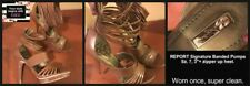 """SEXY-HOT REPORT Beige Leather Banded Sandals,  Sz 7, 3""""+ Heel, NEW- FREE SHIP!"""