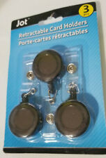 3 Pack BLACK Retractable ID Badge Clip Key Card Holder Office Carabiner Style
