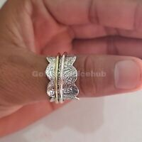 Spinner Ring 925 Sterling Silver Band & Brass Handmade Jewelry All Size p-02