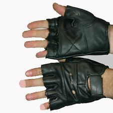 LEATHER FINGERLESS RIDING GLOVES PADDED SIZE X LARGE NEW