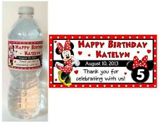 20 MINNIE MOUSE BIRTHDAY WATER BOTTLE LABELS Red polkadot design