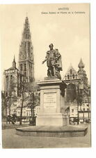 ANVERS BELGIUM Ruben Statue & Cathedral Vtg Postcard