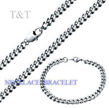 T&T 6mm 316L Stainless Steel Curb Chain Necklace with Bracelet SET
