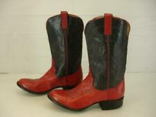 Womens 6 C W Wide Panhandle Slim by Sanders Red Smooth Ostrich Skin Cowboy Boots