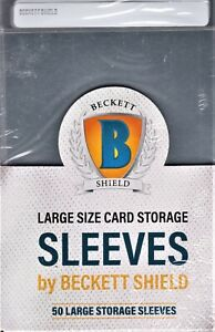 Beckett Shield Large Size Card Semi-Rigid Sleeves for grading 50 count package