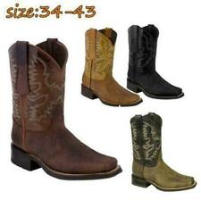 Mens Fashion Retro PU Leather Floral Square Toe Cowboy Western Boots Shoes a29