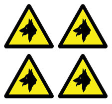 Security Guard Dogs Mini Warning Sign Stickers 4 Pack for Car Van Doors Windows