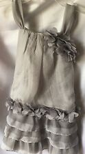 Isobella and Chloe Girls Gray Ruffled Tiered Drop Waist Party Dress Size 4-New
