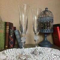 Beautiful Pair Gorham Crystal Amore Champagne Flutes Frosted Heart Stem
