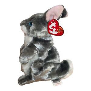 "Ty Beanie Babies Hopper the Bunny 7"" Beanbag Plush Gray Rabbit 2000 With Tag"