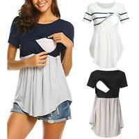 Women Pregnant Maternity Nursing Summer Splice Short Sleeve Top Tee Shirt Blouse