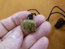 an-ele-28 Elephant Green orange Unakite simple carving Pendant necklace gemstone