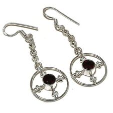 Faceted Red Garnet Circle Gemstone silver plated Handmade Bezel Chain Earrings