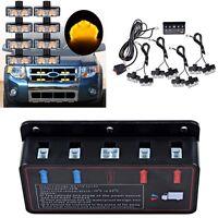 8Pcs 2-LED Amber Car 4WD Front Grille Emergency Flashing Light Bar Waterproof