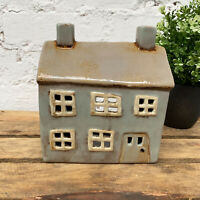 Ceramic Grey Village Cottage House Home Pottery Tea light Candle Holder Ornament