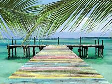 RAINBOW DOCK ART PRINT BY STEVE VAUGHN 32x24 coastal ocean pier tropical poster