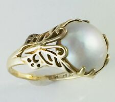 "Franklin Mint ""Ring of Butterflies"" Vintage 14k Gold Mabe Pearl Hanae Mori Ring"