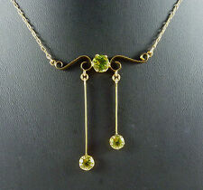 FABULOUS ANTIQUE EDWARDIAN 9CT ROSE GOLD AND 3 PERIDOT NECKLACE