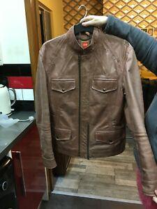 mens hugo boss leather jacket size gb 50