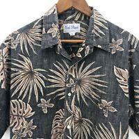 Rai Nani Hawaiian Shirt Size Large Palm Gray Reverse Print Short Sleeve Button