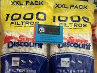 3000 filtros Regular  - 3 bolsas de 1000 filtros cada 8 x 15mms. + 3 mecheros