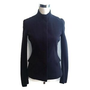 Carolina Herrera Jacket 4 Navy Blue Peplum Blazer LS Career 2K Women's Cocktail