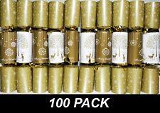 BULK 100 x Christmas Crackers Bon Bons 25cm Gold & White with Snap, Toy & Hat