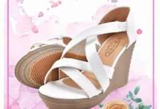 Khoee Arian Strappy Slip on Wedge Sandals (White) SIZE 37