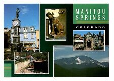 Manitou Springs Colorado Postcard Trolley Clock Tower Statues Mountains Historic