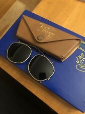 Vintage Ray-Ban Clip On Sunglasses with Leather Case Green Tint Lenses Made Usa