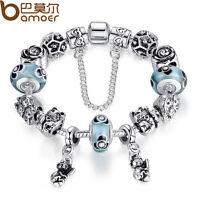 Christmas DIY 925 European Animals Bear Charm Bracelet With Blue Beads For Women