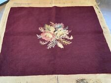 Antique Vintage Wool Needlepoint Burgundy Pink Roses for Pillow Chair Stool Seat