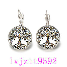 Tree of Life Trendy Glass cabochon(18MM)Lever Back Earrings Silver Jewelry GB101
