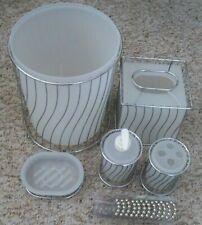 Chrome and Frosted White Bathroom Set Waste Basket, Soap Dispenser Tissue Holder
