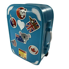 Miniature Doll Suitcase Rolling Luggage Box Blue