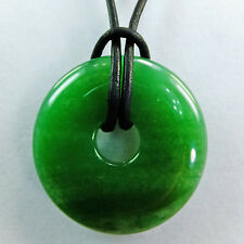 "Green Aventurine 1 1/2"" Polished Translucent Stone Donut Leather Cord Necklace"
