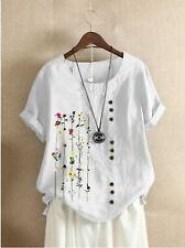 Womens Summer Cotton Linen Short Sleeve Tops Ladies Floral Loose T-shirt Blouse