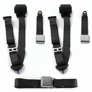 Ford 1957 - 1959 Airplane 3pt Black Retractable Bench Seat Belt Kit - 3 Belts