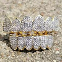 Diamond Cut Custom Fit Teeth Silver Tone Top Bottom Grillz Hip Hop Grill