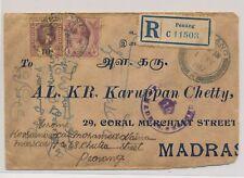 LL23990 Malaya 1917 Penang to Madras registered good cover used