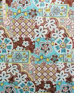 Agua,Brown,Blue Floral Print Cotton Quilt Fabric,Crafts,Face Masks