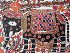 """Dipinto originale di madhubani mithila """"Elefante"""" Fatto A mano Indiano ARTE FOLK 22"""" pollici"""